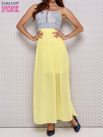 Żółta sukienka maxi z gorsetem z denimu                                  zdj.                                  1