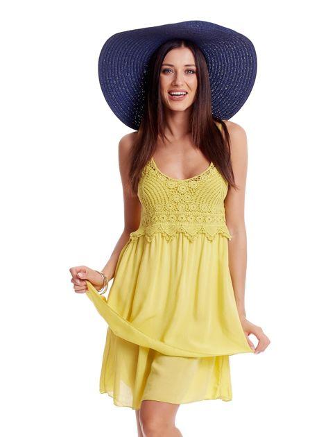 Żółta sukienka na cienkich ramiączkach                              zdj.                              5