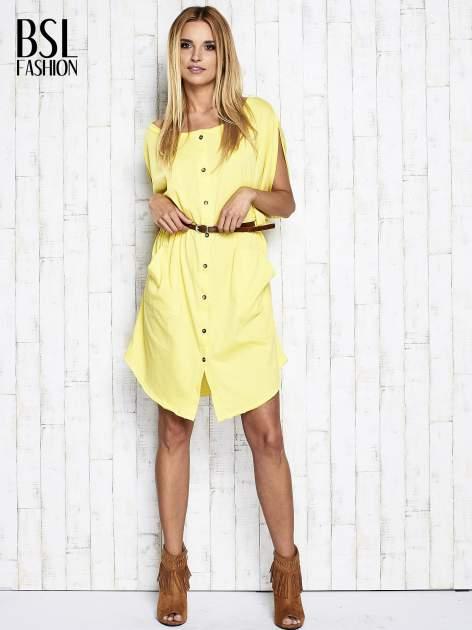 Żółta sukienka oversize z guzikami                                  zdj.                                  2