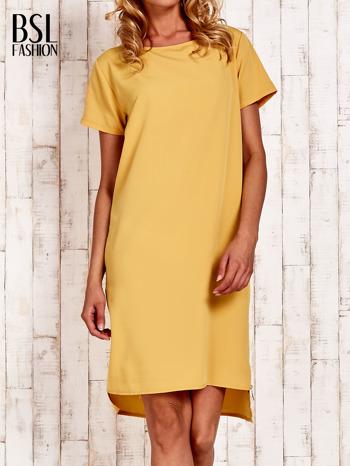 Żółta sukienka z dłuższym tyłem                                  zdj.                                  1