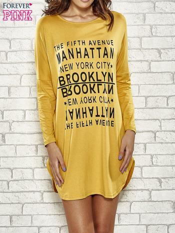 Żółta sukienka z napisem NEW YORK CITY                                  zdj.                                  1