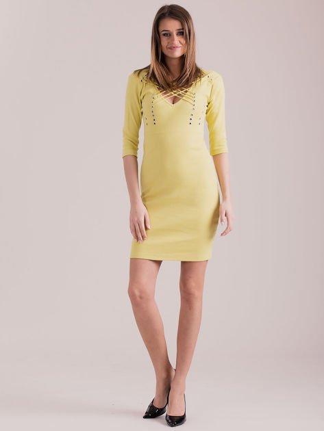 Żółta sznurowana sukienka w prążek                              zdj.                              4