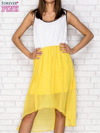 Żółta tiulowa sukienka z krzyżowanymi plecami                                  zdj.                                  1