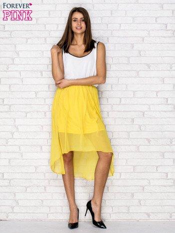 Żółta tiulowa sukienka z krzyżowanymi plecami                                  zdj.                                  4