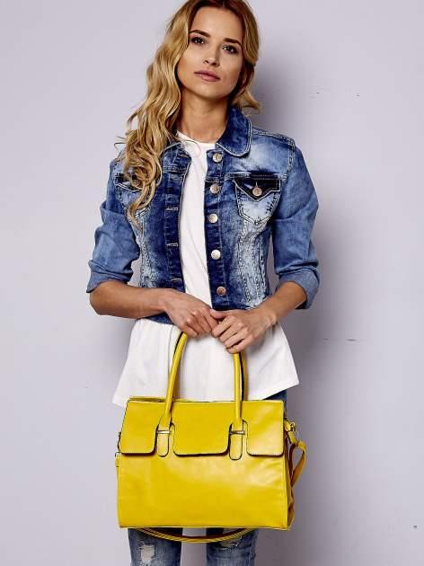 Żółta torebka teczka z klapką                                  zdj.                                  2