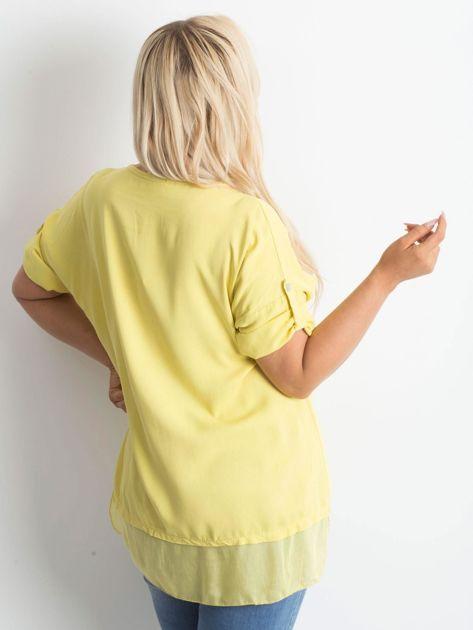 Żółta tunika plus size z nadrukiem                              zdj.                              2
