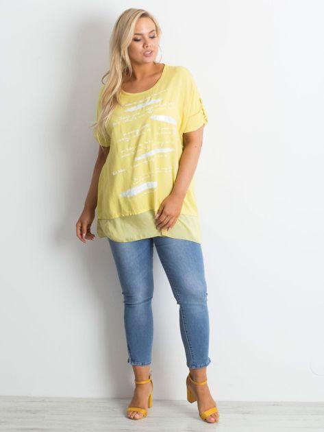 Żółta tunika plus size z nadrukiem                              zdj.                              4