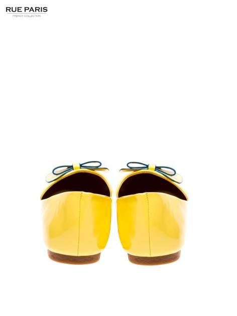 Żółte baleriny lakierowane z kokardką                                  zdj.                                  4