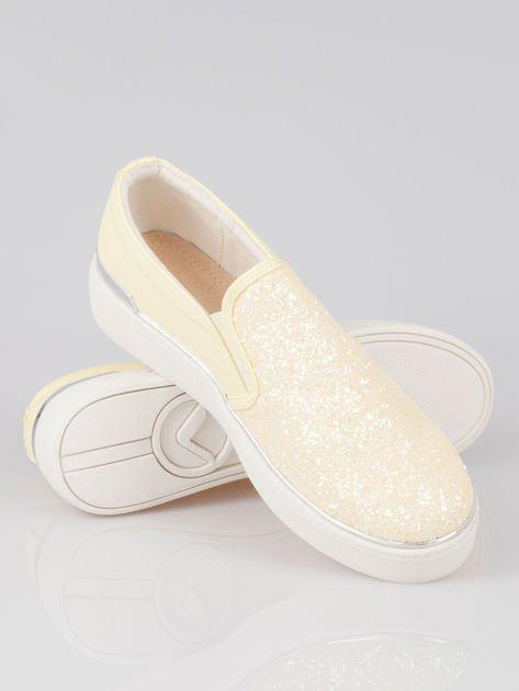 Żółte buty sliponki glitter                                  zdj.                                  4