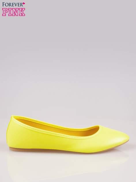 Żółte gładkie balerinki ze skóry ekologicznej