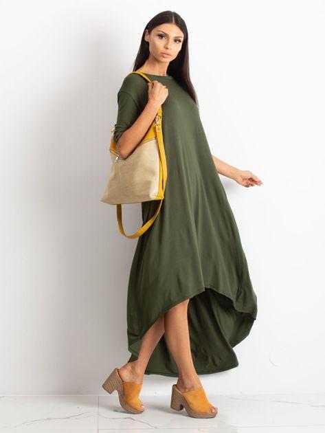 Żółto-beżowa torba z odpinanym paskiem                              zdj.                              5
