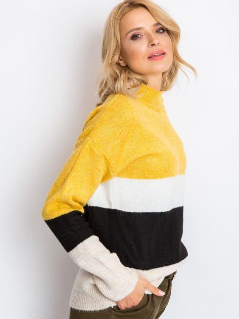 Żółto-biały sweter Denise                              zdj.                              3