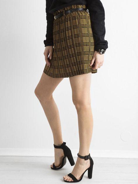 Żółto-czarna plisowana spódnica we wzory                              zdj.                              3