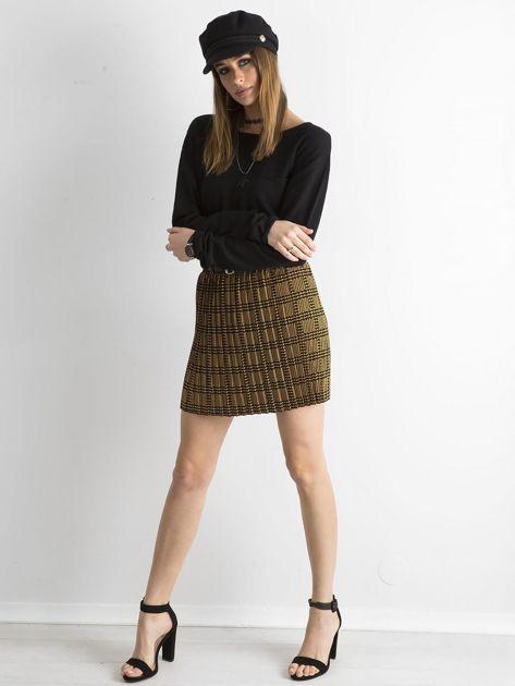 Żółto-czarna plisowana spódnica we wzory                              zdj.                              4