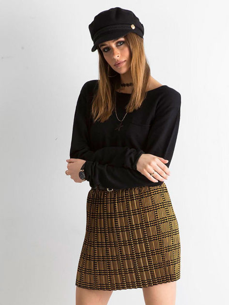 Żółto-czarna plisowana spódnica we wzory                              zdj.                              1