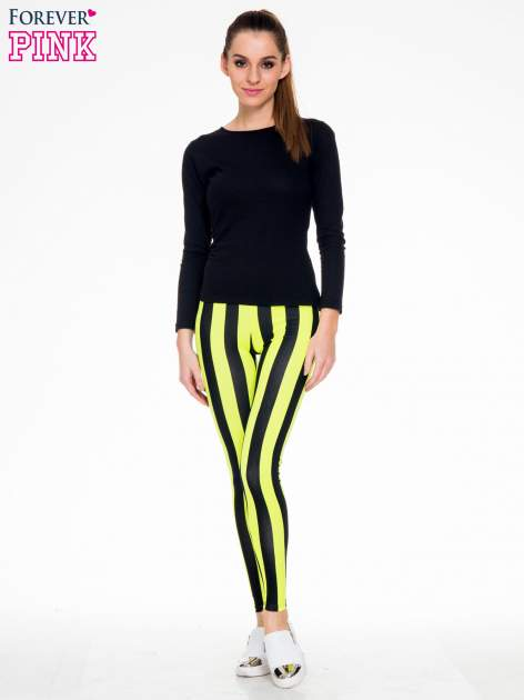 Żółto-czarne wyszczuplające legginsy w pionowe paski                                  zdj.                                  4