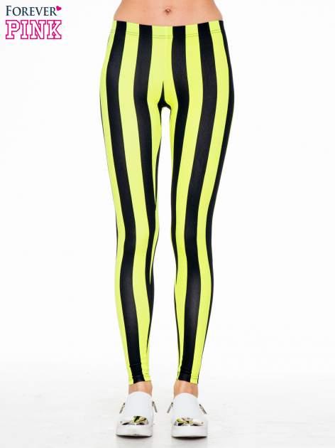 Żółto-czarne wyszczuplające legginsy w pionowe paski                                  zdj.                                  1