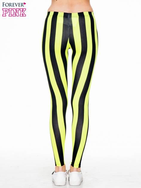 Żółto-czarne wyszczuplające legginsy w pionowe paski                                  zdj.                                  2