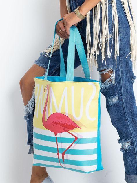 Żółto-niebieska torba z flamingiem                              zdj.                              3
