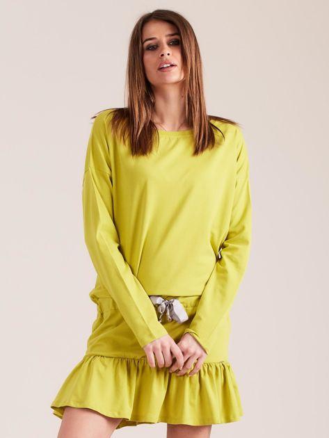 Żółto-zielona sukienka oversize z falbaną                              zdj.                              1