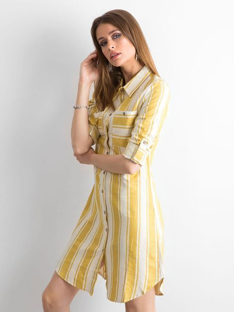 Żółto-zielona sukienka szmizjerka w paski                              zdj.                              3