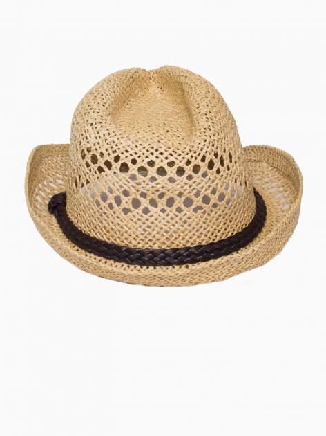 Żółty damski kapelusz kowbojski z ciemną plecionką                                  zdj.                                  5