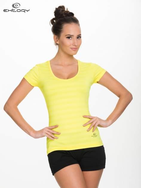 Żółty damski t-shirt sportowy w paski