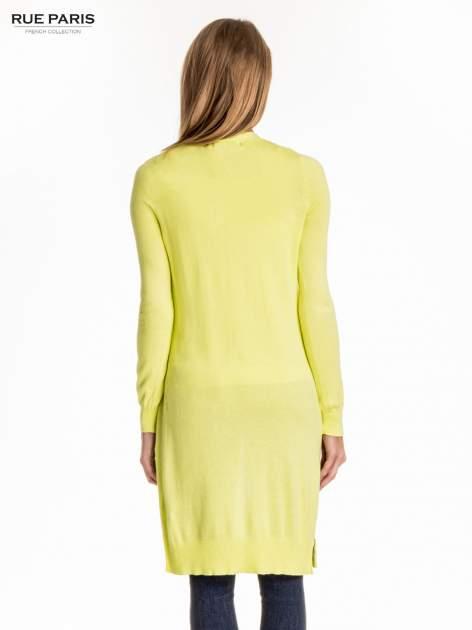 Żółty długi sweter kardigan z rozporkami                                  zdj.                                  2