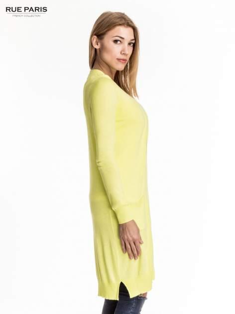 Żółty długi sweter kardigan z rozporkami                                  zdj.                                  3