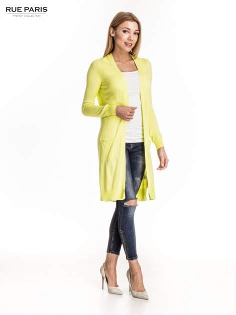 Żółty długi sweter kardigan z rozporkami                                  zdj.                                  4
