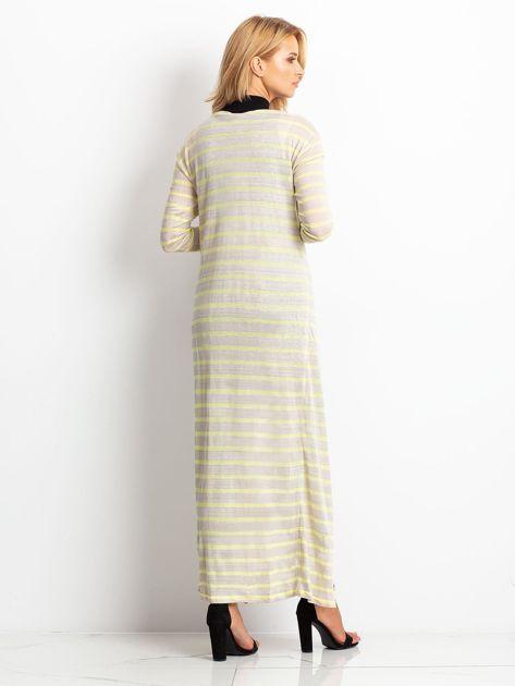 Żółty długi sweter w paski                              zdj.                              2