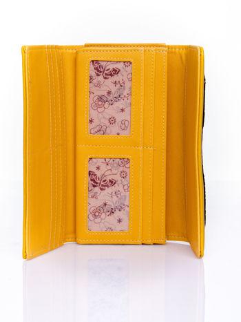 Żółty portfel z motywem skóry aligatora                                   zdj.                                  4