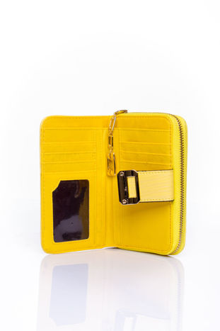 Żółty portfel z ozdobną złotą klamrą                                  zdj.                                  4