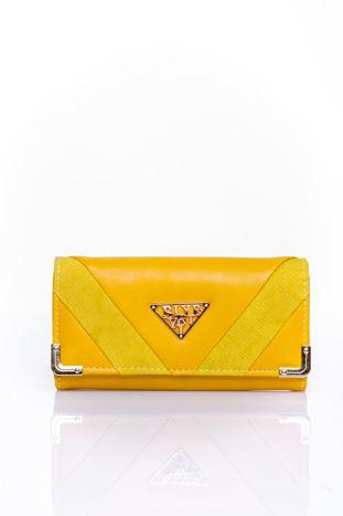 Żółty portfel z ozdobnym detalem i złotymi okuciami                                  zdj.                                  1