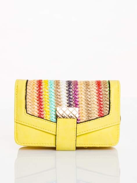 Żółty portfel z plecionką