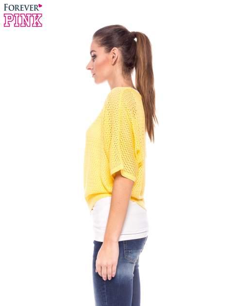 Żółty siateczkowy sweter oversize                                  zdj.                                  3