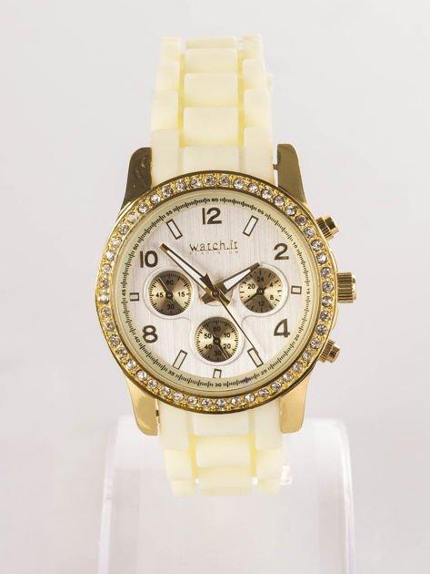Żółty silikonowy zegarek damski                              zdj.                              1