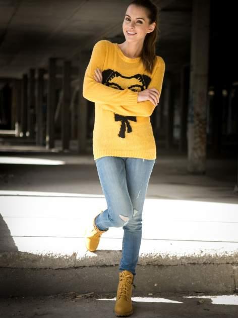 Żółty sweter z nadrukiem pieska                                  zdj.                                  7
