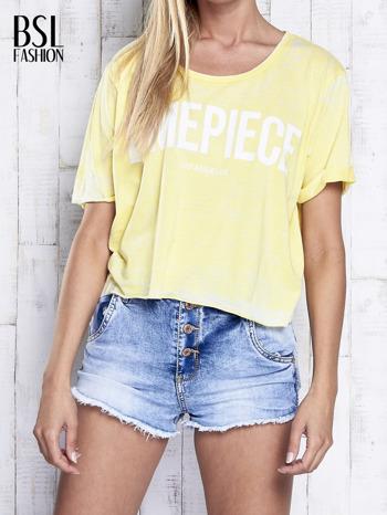 Żółty t-shirt cropped DIMEPIECE                                  zdj.                                  1