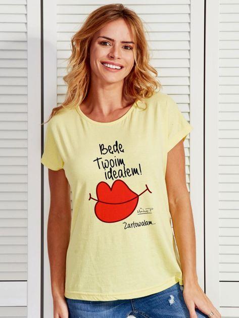 Żółty t-shirt damski BĘDĘ TWOIM IDEAŁEM by Markus P                              zdj.                              1