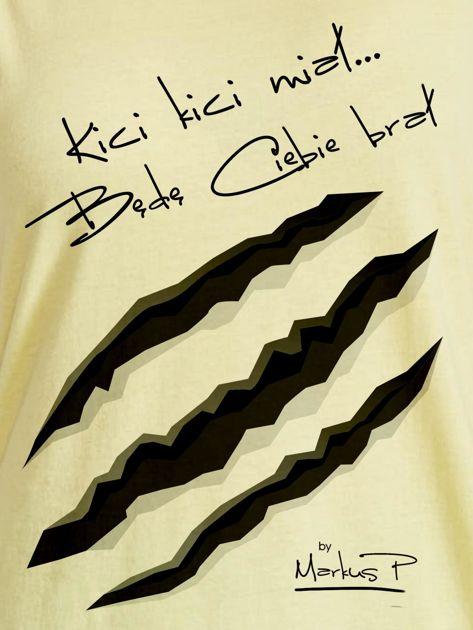 Żółty t-shirt damski KICI KICI MIAŁ by Markus P                                  zdj.                                  2
