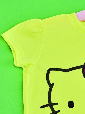 Żółty t-shirt dla dziewczynki HELLO KITTY z napisami                                  zdj.                                  3