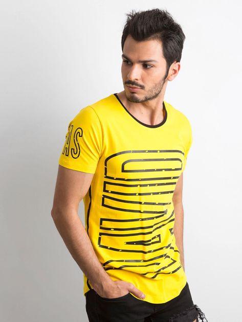 Żółty t-shirt męski z nadrukiem