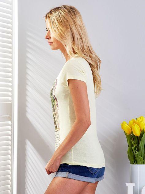 Żółty t-shirt z fotograficznym nadrukiem                              zdj.                              5