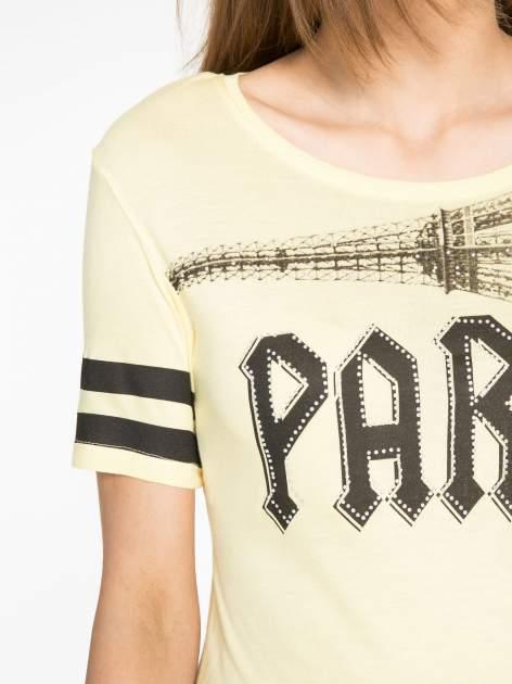 Żółty t-shirt z motywem Paryża                                  zdj.                                  5