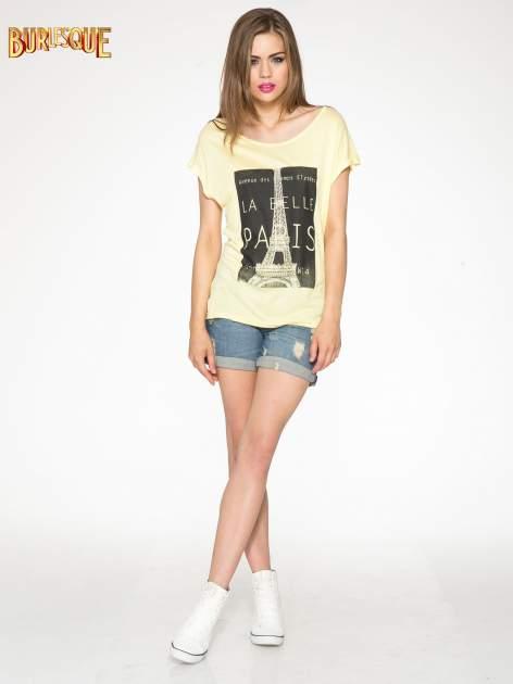 Żółty t-shirt z motywem Paryża                                  zdj.                                  2