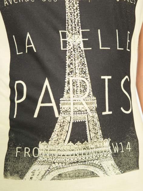 Żółty t-shirt z motywem Paryża                                  zdj.                                  9