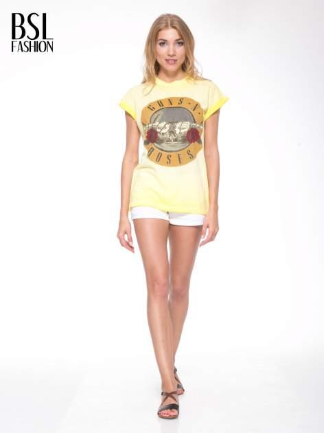 Żółty t-shirt z nadrukiem GUNS N' ROSES                                  zdj.                                  5