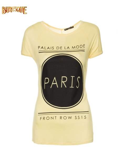 Żółty t-shirt z nadrukiem PARIS                                  zdj.                                  8