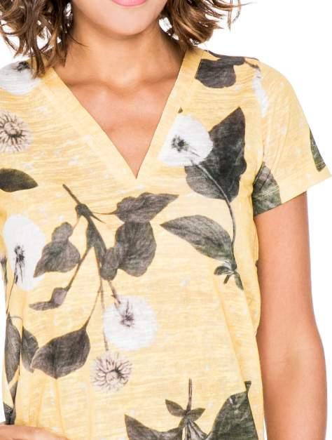Żółty t-shirt z nadrukiem all over floral print                                  zdj.                                  5